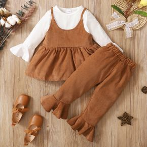 2-piece Toddler Girl Bell sleeves Faux-two Peplum Top and Corduroy Flared Pants Set