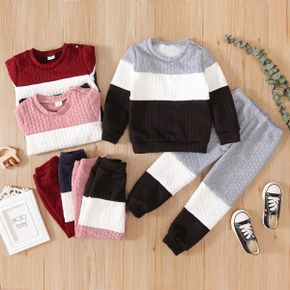 2-piece Toddler Girl/Boy Colorblock Cable Knit Sweatshirt and Pants Set
