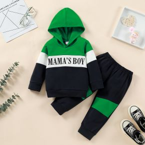 2pcs Baby Letter Print Color Block Long-sleeve Hoodie and Trousers Set
