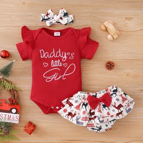 Christmas 3pcs Baby Letter Embroidered Short-sleeve Ribbed Ruffle Cotton Romper and Reindeer Print Shorts Set