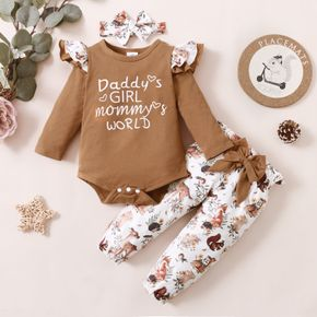 3pcs Baby Letter Print Ruffle Long-sleeve Romper and Floral Trousers Set