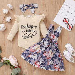 3pcs Baby Letter Embroidered Ribbed Long-sleeve Romper and Floral Print Suspender Skirt Set