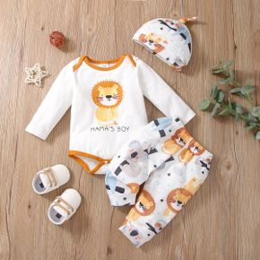 3pcs Baby Cartoon Animals and Letter Print White Long-sleeve Romper and Trousers Set
