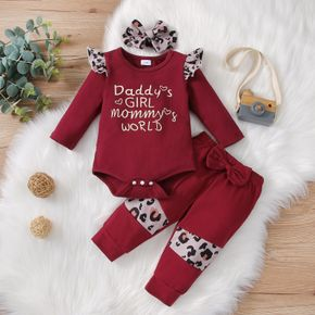 3pcs Baby Letter Print Leopard Splicing Cotton Long-sleeve Romper and Bowknot Trousers Set
