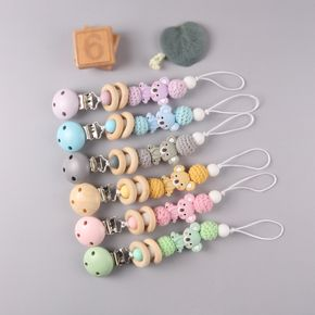 Silicone Teether Wood Beads Set DIY Baby Teething Necklace Toy Cartoon Koala Pacifier chain Clip