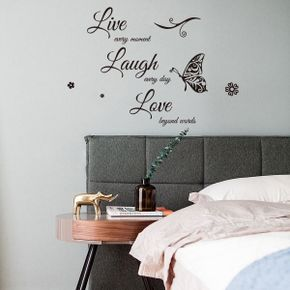 Live Every Moment Laugh Every Day Love Beyond Words Wall Art Decal Motivational Quote Sticker Wall Decor