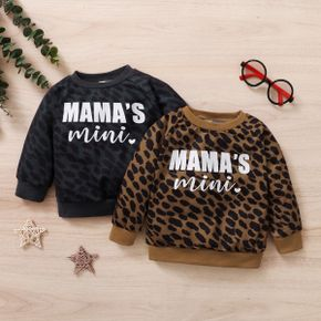 Leopard and Letter Print Long-sleeve Baby Pullover