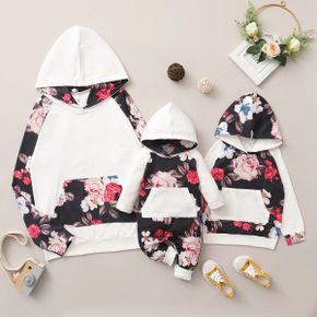 100% Cotton Floral Print Long Sleeve Hooded Sweatshirts for Mom and Me