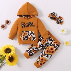2pcs Sunflowers and Letters Leopard Print Long-sleeve Baby Set