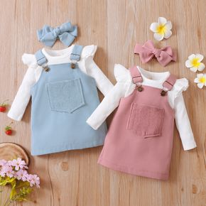 Baby 3pcs  White Ribbed Long-sleeve Romper and Solid Suspender Dress Set