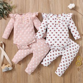 2pcs Cotton All Over Love Heart Print Baby Long-sleeve Ribbed Romper and Pants Set