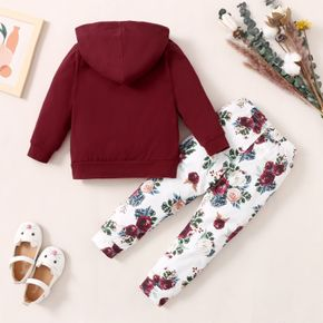 2-piece Toddler Girl Letter Floral Print Hoodie and Pants Set