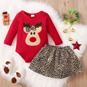 Christmas 2pcs Deer Embroidered Red Long-sleeve Romper and Leopard Mini Skirt Set