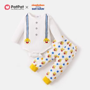 Baby Shark 2-piece Baby Boy Cotton Bodysuit and Allover Pants Set