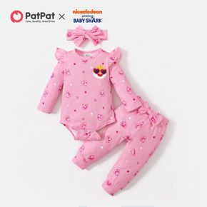 Baby Shark 3pcs Baby Girl Cotton Allover Bodysuit and Pants Set with Headband