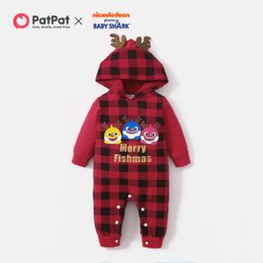 Baby Shark Christmas Cotton Plaid Antlers Jumpsuit for Baby