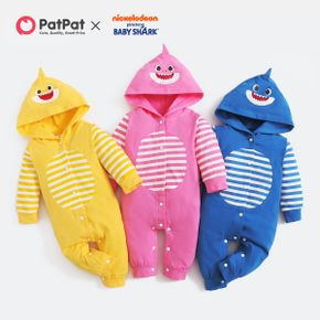Baby Shark Cotton Stripe Hooded Jumpsuit for Baby
