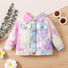 Baby Tie Dye Lapel Button Down Cotton Long-sleeve Ripped Jacket