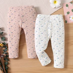 Baby All Over Floral Print Cotton Ribbed Leggings
