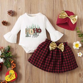 Christmas 3pcs Baby Letter Print Long-sleeve Cotton Romper and Red Plaid Bowknot Skirt Set