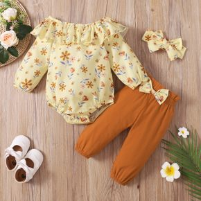 3pcs Baby Floral Print Off Shoulder Ruffle Long-sleeve Romper and Cotton Pants Set