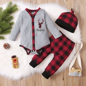 Christmas 3pcs Baby Reindeer and Letter Print Cotton Long-sleeve Romper with Red Plaid Trousers Set