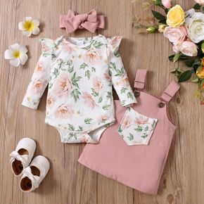 3pcs Baby Floral Print Ruffle Long-sleeve Romper and Pink Overall Dress Set