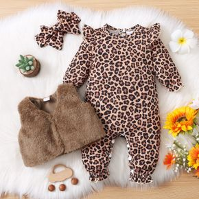 3pcs Baby All Over Leopard Long-sleeve Jumpsuit and Fuzzy Fleece Vest Set