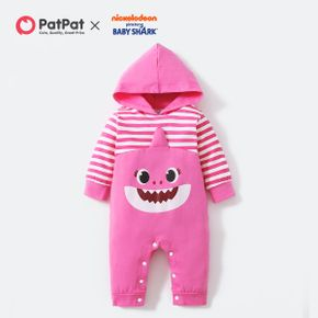 Baby Shark Baby Girl Cotton Big Graphic and Stripe Hooded Jumspuit