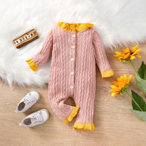 Solid Pink Long-sleeve Knit Ruffle Button Front Baby Jumpsuit