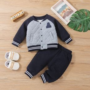 2pcs Baby Letter Patch Raglan Sleeve Cotton Jacket and Trousers Set