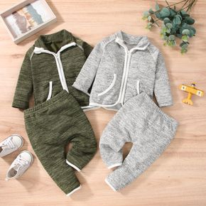2pcs Baby Heathered Knitted Long-sleeve Cotton Zip Jacket and Trousers Set