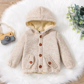 Baby Beige Cotton Button Down Long-sleeve Hooded Thickened Lined Outwear