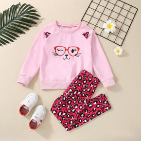 2-piece Kid Girl Cat Glasses Embroidered Ear Design Pullover Sweatshirt and Leopard Print Leggings Set