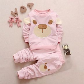 2-piece Baby Girl Animal Embroidered Pullover Sweatshirt and Elasticized Pants Set