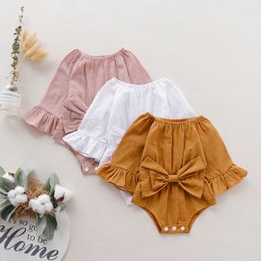 100% Cotton Solid Bowknot Decor Long-sleeve Baby Romper