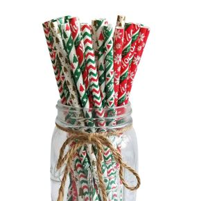 100-pack Christmas Disposable Paper Straw for Wedding New Year Party Banquet
