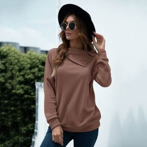 Pile Collar Long-sleeve Brown Pullover