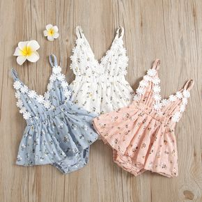 100% Cotton Floral Print Daisy Baby Sling Romper Dress