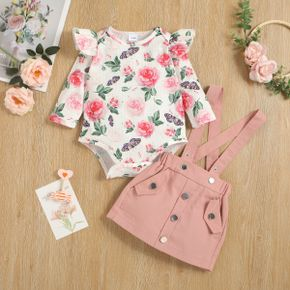 2pcs Baby Floral Print Ruffle Long-sleeve Waffle Romper and Suspender Skirt Set