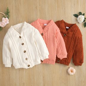 Toddler Girl Button Design Cable Knit Sweater Jacket