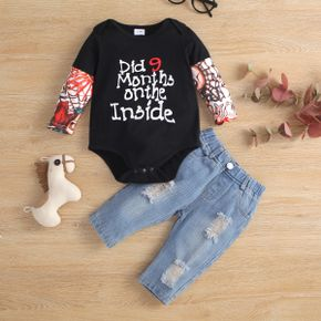 2pcs Baby Letter Print Long-sleeve Cotton Romper and Ripped Denim Jeans Set