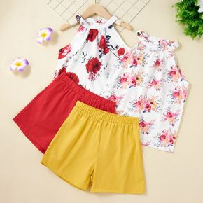 Beautiful Kid Girl 2-piece Floral Print Shorts Suits