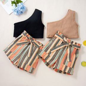 Fashionable Kid Girl One Shoulder Top Stripe Print Shorts 2-piece Casual Set