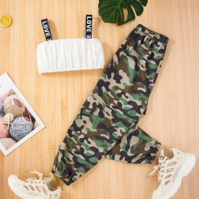 2-piece Kid Girl Letter Print Tank Top and Camouflage Elasticized Pants Set