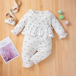 Floral Print Ribbed Long-sleeve Ruffle Baby Faux-two Jumpsuit