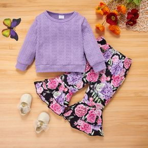 2pcs Baby Solid Purple Long-sleeve Pullover and Floral Print Bell Bottom Pants Set