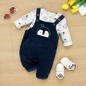 2pcs Baby All Over Cartoon Penguin Print Long-sleeve Romper and Overalls Set