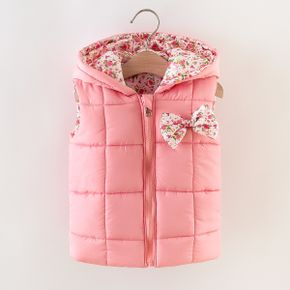 Floral Print Allover Bow Decor Hooded Sleeveless Pink Baby Coat Jacket