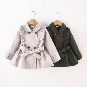 Toddler Girl Doll Collar Ruffled Double Breasted Belted Trench Coat